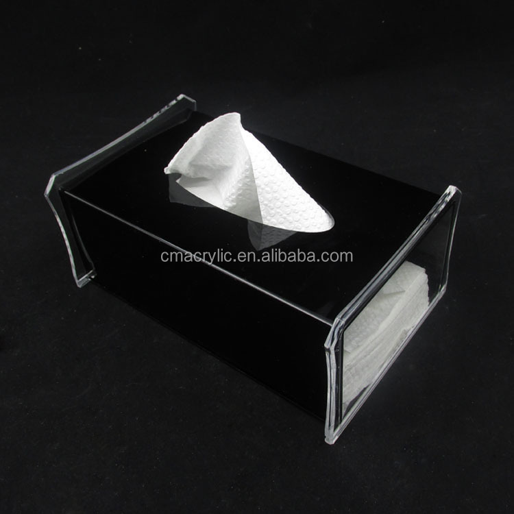 OEM service black simple style acrylic tissue box/acrylic napkin holder/car tissue box holder