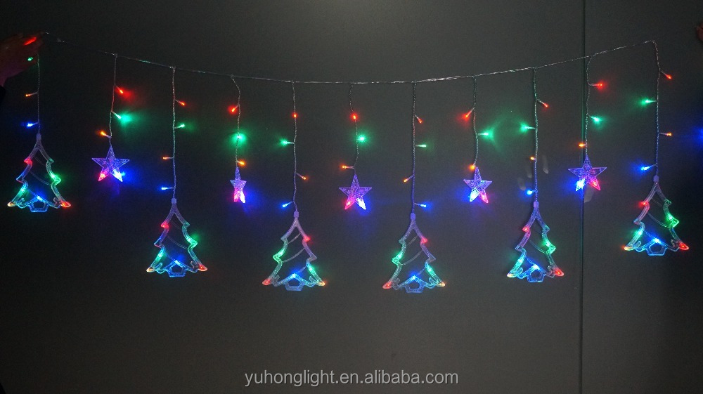 Star Reindeer Curtain Light Chain Multicolor Warm White LED