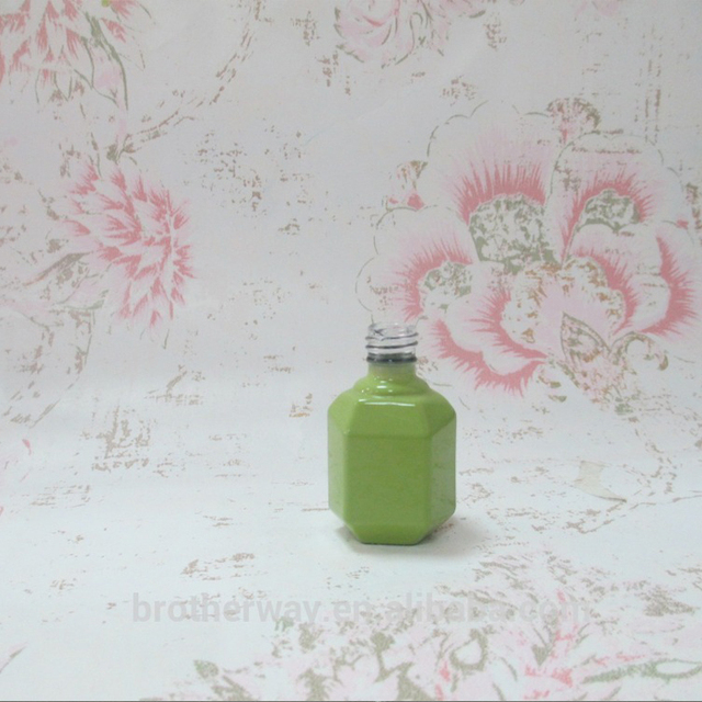Wholesale green hexagonal 5ml 10ml 15ml Empty Glass Nail Polish Bottle With Cap Brush