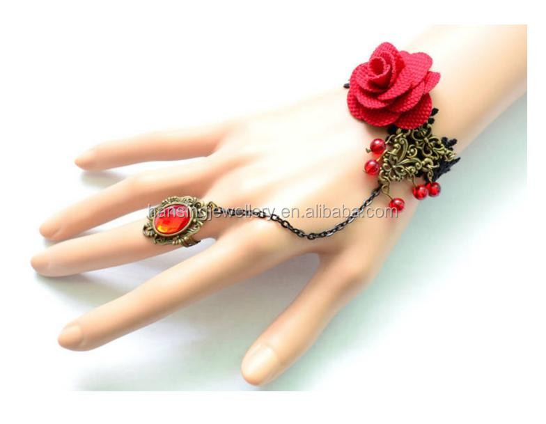 2016 Fashion Europe Style Retro Suit Red Rose Flower Lace Chain LInk With Ring Bracelet
