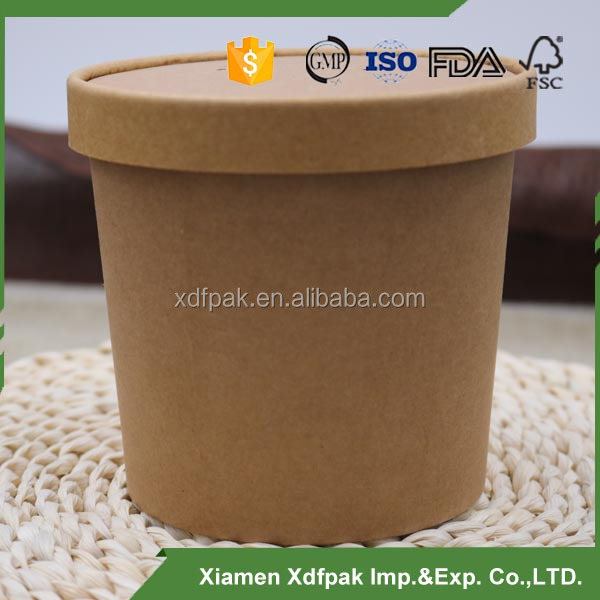 kraft soup cup with lid/paper soup container with paper lid