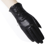 Short Women Frilling Cuff Lady Wearing Leather Gloves With Touch Screen Fingers