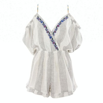Summer boho women short embroidery sexy playsuit