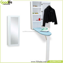 Hot sale mirrored wooden ironing board holder cabinet