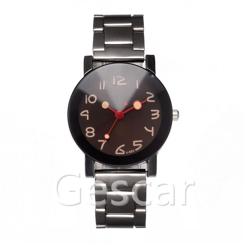 VK803 Digital scale unique red second hand Glass Mirror watch no logo popular Steel Band Wrist Watch