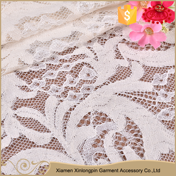 Simple design white curtain material chinese lace fabric with holes