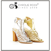 thick mid heel gold wedding sandals dropship wooden sole design