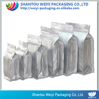 block bottom food packaging bag small aluminum foil zip lock bag