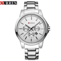 2016 men fashion dress japan quartz movement curren 8129 military big dial male business luxury stainless steel watch with date