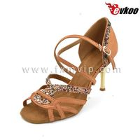 "Coffee color elegance ballroom wide dance shoes 4"" heel dance shoes"