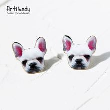 Artilady oil two color cute French bulldog stud earrings jewelry summer style enamel Frenchie golden earring designs for women