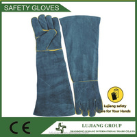 Long Arm Blue Protective sheep leather gloves