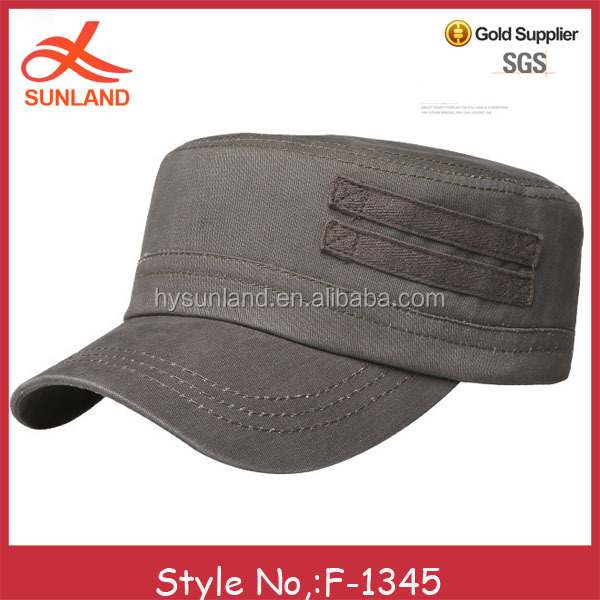 F-1345 new black cotton men military hat fitted cadet high quality flat caps