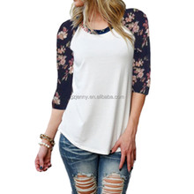 fashion floral long sleeve raglan loose cotton stylish latest shirt designs for women
