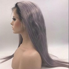 2017 new grey dark roots human hair full lace wig