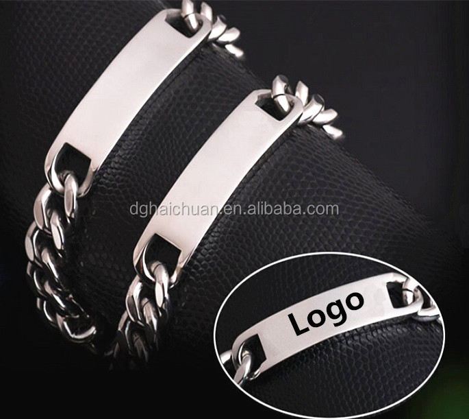 Logo man Cable chain stainless steel heavy mens bracelet ,cube chain bracelet for men jewelry