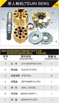 hydraulic pump hydraulic parts for TEIJIN SEIKI GM03/05/06/07/08/09/10/17/18/20/23/24/28/35/38VL TRAVEL