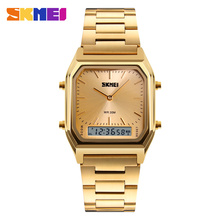 2017 SKMEI stainless steel gold watchcustomized watch faces with your own logo