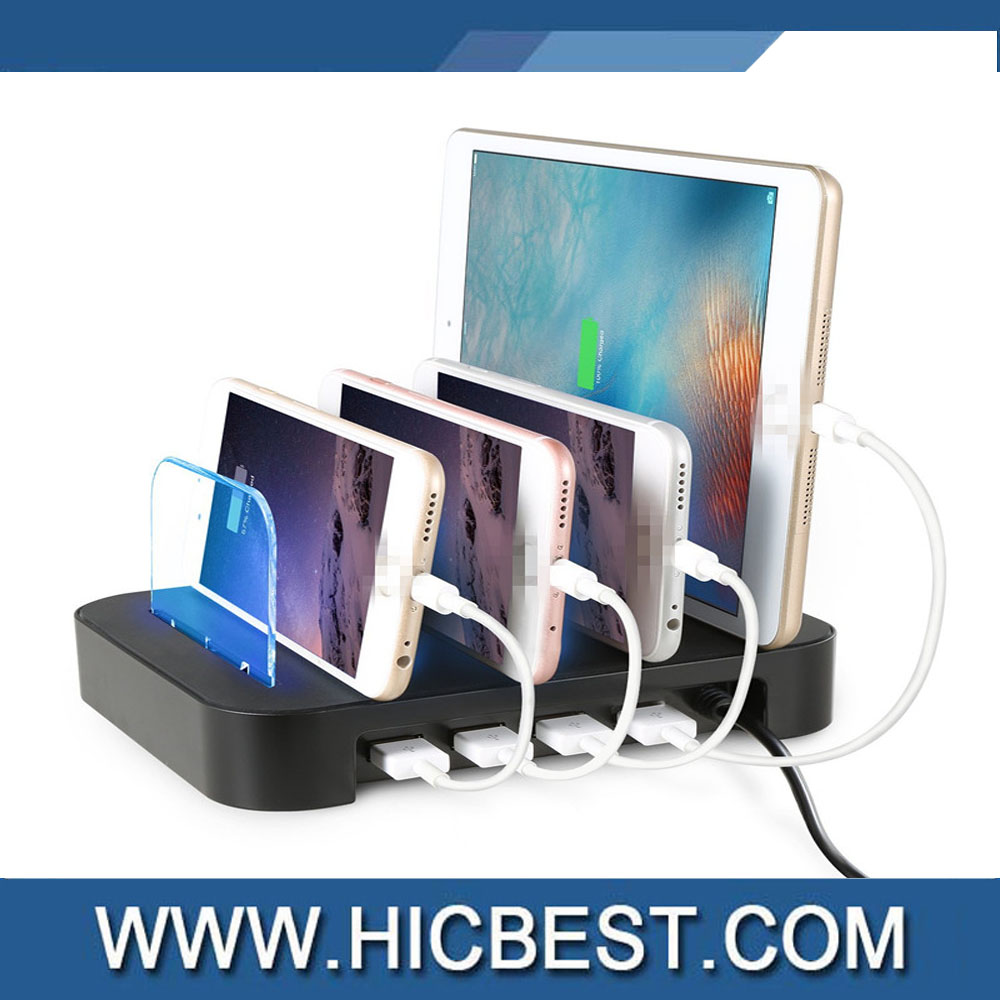 4.8A 4-Port USB Charging Dock Phone Stand For IPhone Tablet with CE ROHS