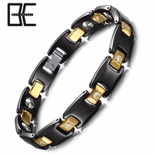 China Manufacturer Black Gold Two tone Fashion Jewerly Ceramic Magnetic Germanium Bracelet Wholesale