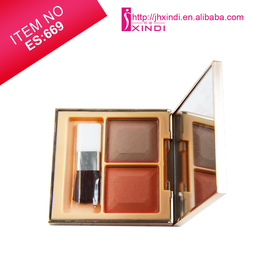 Professional 2 Color Natural Earth Tone blush with Brush Mirror Brand Quality Eye Shadow or Blusher