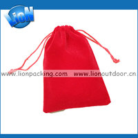 Cheap custom red velvet drawstring pouch bag, stock women's lady velvet jewelry bag wholesale