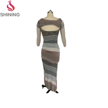 Summer cheap beautiful dresses for women latest party dress designs for ladies knit cotton stripe skirts