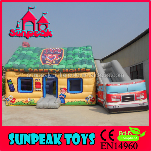 COM-287 Giant Outdoor Fire Safety House Inflatable Bouncer For Kids