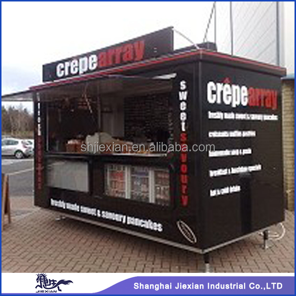 2015 Shanghai jiexian Fibreglass Street Mobile european exported food kiosk