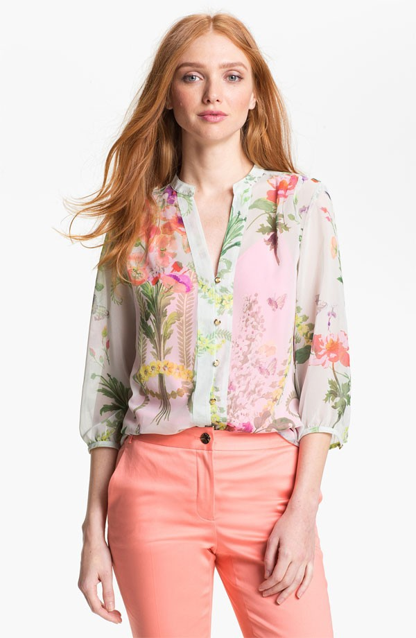 flower fashion blouse and skirt