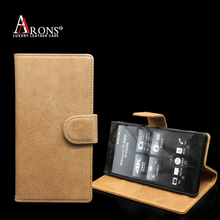 Premium stand leather belt clip flip wallet leather case for sony xperia m