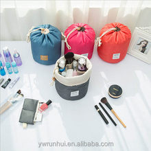 Newest Large Capacity Barrel Shaped Nylon Wash Organizer Storage Travel Dresser Pouch Cosmetic Makeup Bag For Women