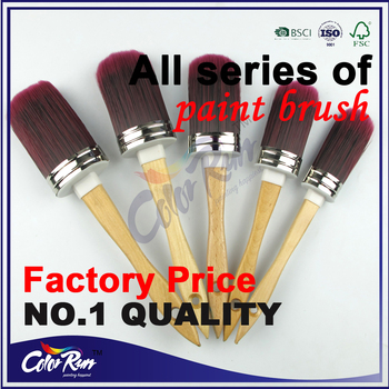 ColorRun PB07067 High Class hard wood handle natural bristle mixed pbt filament round chalk paint brush