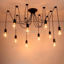 Indoor Decorative Lighting Spider Look Iron Black Multi-heads Loft Light Pendant Lamp