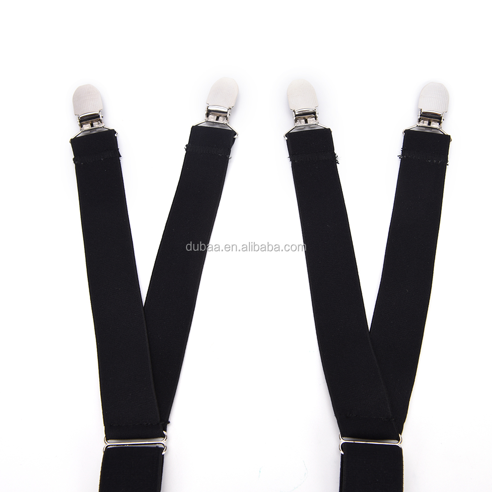 Y / Stirrup Footloop Adjustable Elastic Garter Nylon Straps Sock Suspenders Holder Men's Shirt Stays