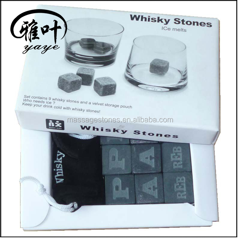 Wholesale Straight Cornered Whisky Sipping Stones Engraved logo whisky stone