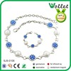 new design 2014 fashion crystal and blue stone handmade necklace jewelry set