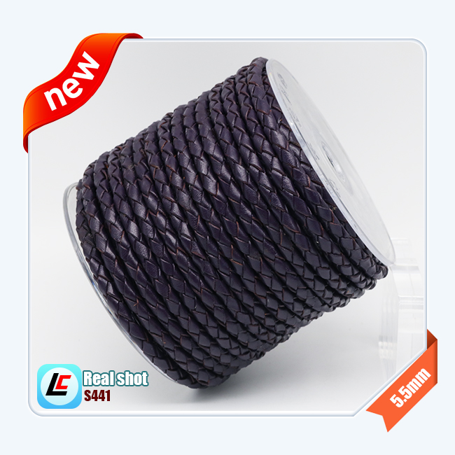 OEM welcome popular round braid PU/genuine leather cords for jewelry making