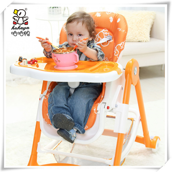 New Waterproof Fabric Mat Foldable Infant/Toddler/Kids/Children/Baby High Chair with Pedal