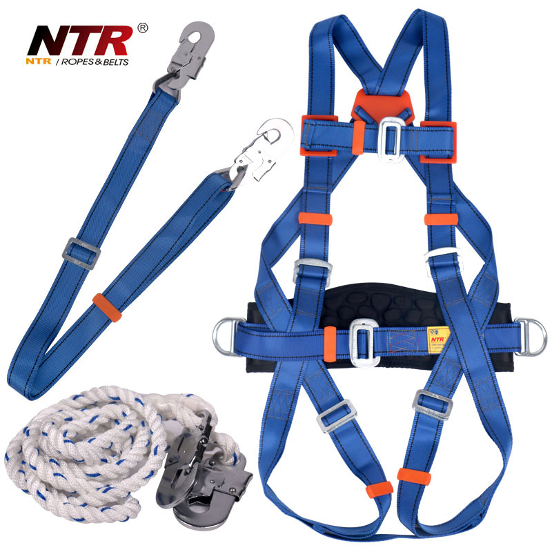 Full body safety harness with lanyard and hooks