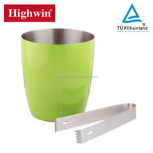 new product top quality lacquer coated Stainless Steel Single Wall Ice Bucket/ice tong for colorful plating