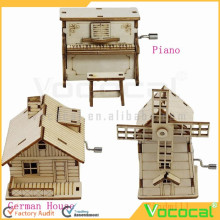 DIY Wooden Music Box Hand Crank Happy Birthday Holiday Party Present Children Gift Musical Toy