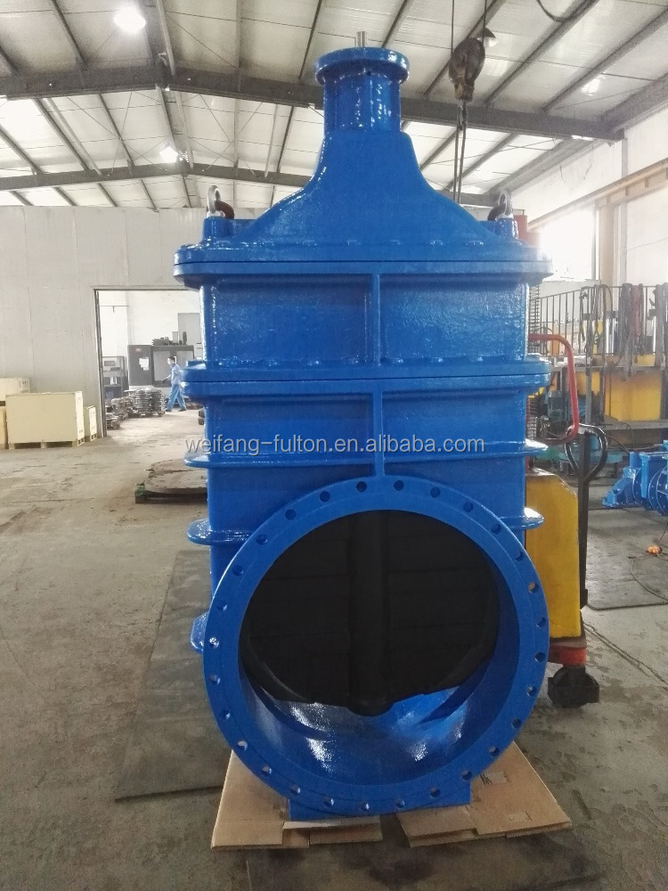 DIN 1171 double flanged large size resililent wedge gate valve with mounting flange