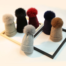 MX-3 Fashion women winter animal russian fur hat with fur pom pom