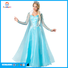Free sample women elsa dress cosplay costume in frozen