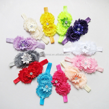 Wholesale baby flowers cotton stretch headband Cheap Infant toddler fabric flowers knitted elastic headbands