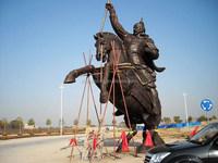 warrior with horse sculpture