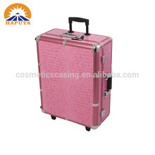 Hot selling universal wheels professional rolling makeup case with lighted mirror