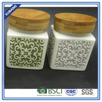 Color Square shape small ceramic jar with cork top and rubber seal