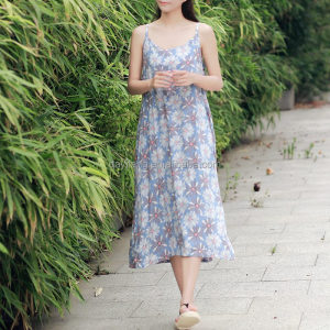 O-neck Cotton Flower print Sleeveless cloths women dress Casual Cute Long Strap Dress Original Design Floral